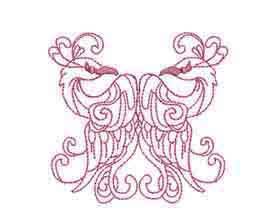 Magical Swans Redwork Machine Embroidery Designs