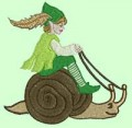 Elf Riding Snail Machine Embroidery Design