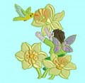 Fairy and Hummingbird Machine Embroidery Design