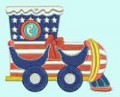 4 July Train Machine Embroidery Designs